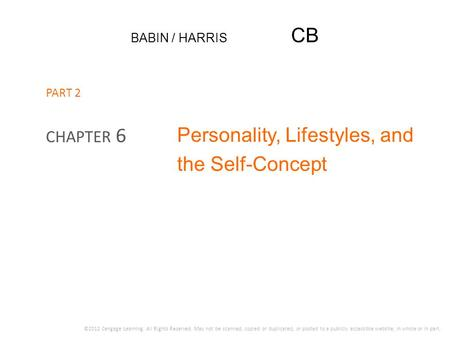 Personality, Lifestyles, and the Self-Concept
