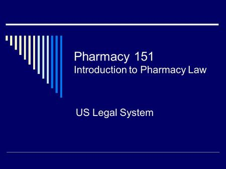 Pharmacy 151 Introduction to Pharmacy Law US Legal System.