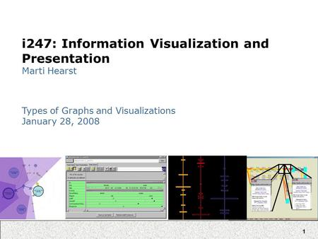 1 i247: Information Visualization and Presentation Marti Hearst Types of Graphs and Visualizations January 28, 2008.