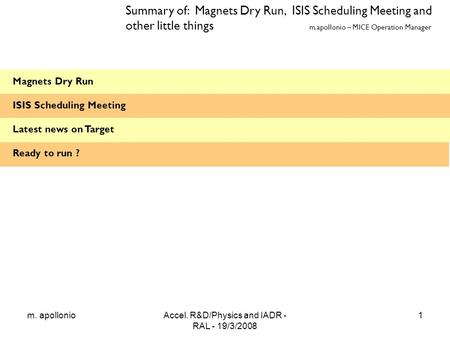 M. apollonioAccel. R&D/Physics and IADR - RAL - 19/3/2008 1 Magnets Dry Run ISIS Scheduling Meeting Latest news on Target Ready to run ? Summary of: Magnets.