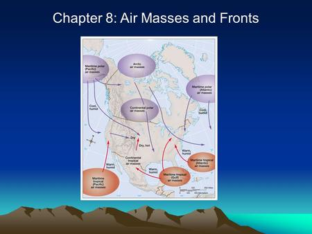 Chapter 8: Air Masses and Fronts. Introduction Air masses have uniform temperature and humidity characteristics –They affect vast areas Fronts are boundaries.