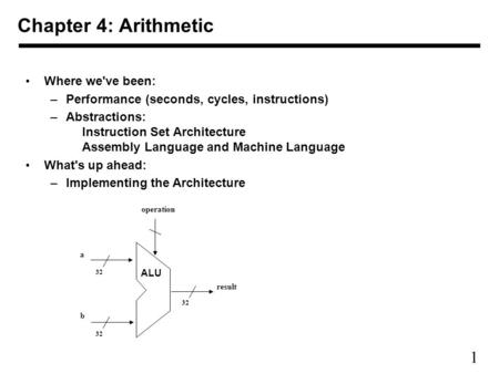 1 Chapter 4: Arithmetic Where we've been: –Performance (seconds, cycles, instructions) –Abstractions: Instruction Set Architecture Assembly Language and.