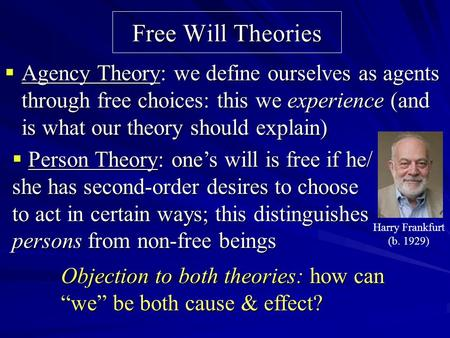 Free Will Theories  Agency Theory: we define ourselves as agents through free choices: this we experience (and is what our theory should explain)  Person.