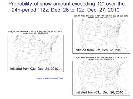 "Probability of snow amount exceeding 12"" over the 24h-period ""12z, Dec. 26 to 12z, Dec. 27, 2010"" Initiated from 03z, Dec. 24, 2010 Initiated from 03z,"