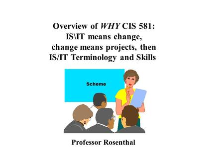 Overview of WHY CIS 581: IS\IT means change, change means projects, then IS/IT Terminology and Skills Professor Rosenthal Scheme.