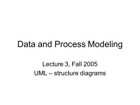 Data and Process Modeling Lecture 3, Fall 2005 UML – structure diagrams.