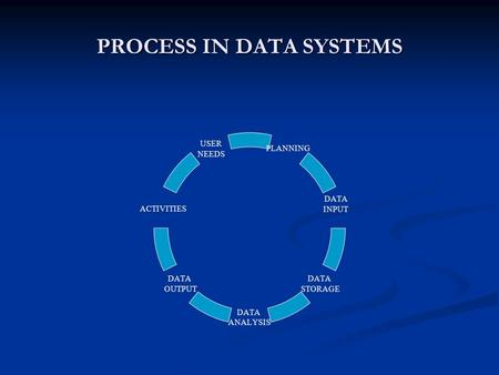 PROCESS IN DATA SYSTEMS PLANNING DATA INPUT DATA STORAGE DATA ANALYSIS DATA OUTPUT ACTIVITIES USER NEEDS.