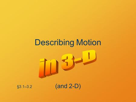 Describing Motion §3.1–3.2 (and 2-D). Vectors Position is a vector Velocity is a vector Acceleration is a vector.