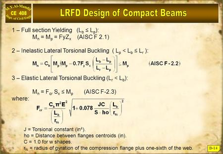 B-14 1 – Full section Yielding (L b ≤ L p ): M n = M p = FyZ x (AISC F 2.1) 2 – Inelastic Lateral Torsional Buckling ( L p < L b ≤ L r ): 3 – Elastic Lateral.