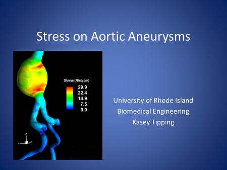 Stress on Aortic Aneurysms University of Rhode Island Biomedical Engineering Kasey Tipping.