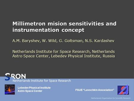Millimetron mision sensitivities and instrumentation concept