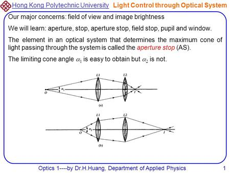 Hong Kong Polytechnic University Optics 1----by Dr.H.Huang, Department of Applied Physics1 Light Control through Optical System Our major concerns: field.