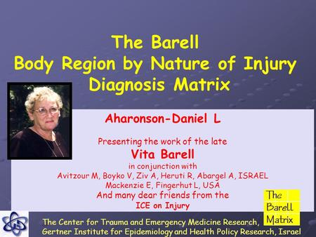 The Barell Body Region by Nature of Injury Diagnosis Matrix Aharonson-Daniel L Presenting the work of the late Vita Barell in conjunction with Avitzour.