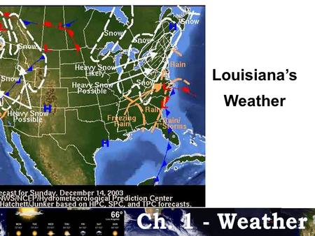 "Louisiana's Weather. Fact # 2 Fact #1 Weather –is often confused with the word ""climate"" but they are not the same. Weather is a look at the current conditions."