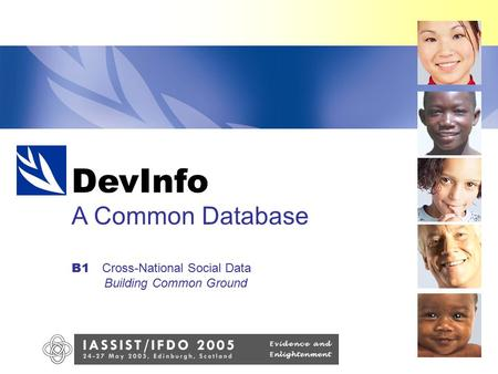 DevInfo A Common Database B1 Cross-National Social Data Building Common Ground DevInfo.