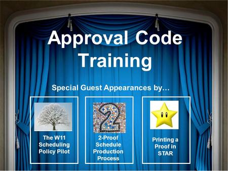Approval Code Training Special Guest Appearances by… The W11 Scheduling Policy Pilot Printing a Proof in STAR 2-Proof Schedule Production Process.