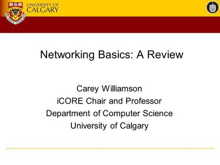 Networking Basics: A Review Carey Williamson iCORE Chair and Professor Department of Computer Science University of Calgary.