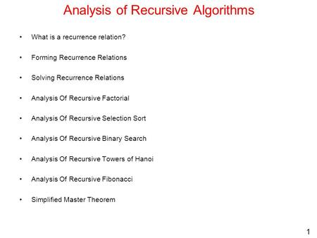 Analysis of Recursive Algorithms