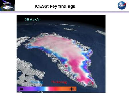 ICESat dH/dt Thinning Thickening ICESat key findings.