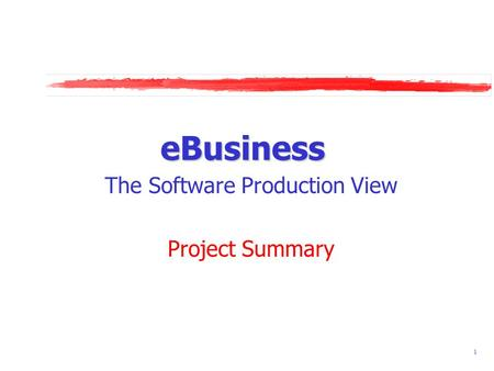 1 eBusiness The Software Production View Project Summary.