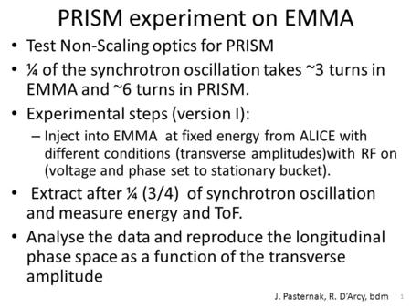 PRISM experiment on EMMA Test Non-Scaling optics for PRISM ¼ of the synchrotron oscillation takes ~3 turns in EMMA and ~6 turns in PRISM. Experimental.