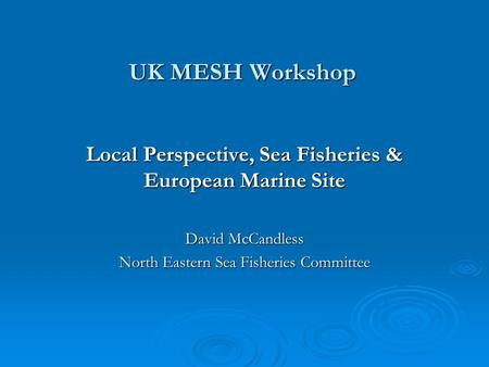 UK MESH Workshop Local Perspective, Sea Fisheries & European Marine Site David McCandless North Eastern Sea Fisheries Committee.
