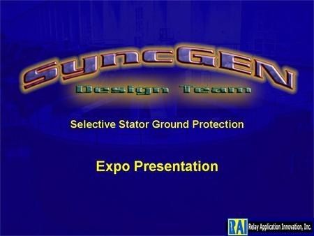 Selective Stator Ground Protection Expo Presentation.