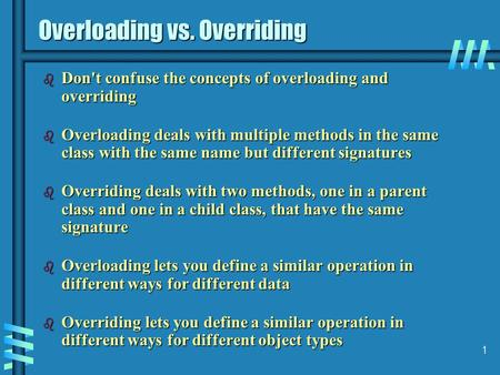 1 Overloading vs. Overriding b Don't confuse the concepts of overloading and overriding b Overloading deals with multiple methods in the same class with.