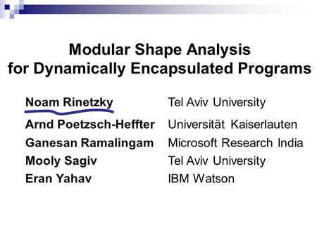 Modular Shape Analysis for Dynamically Encapsulated Programs Noam Rinetzky Tel Aviv University Arnd Poetzsch-HeffterUniversität Kaiserlauten Ganesan RamalingamMicrosoft.