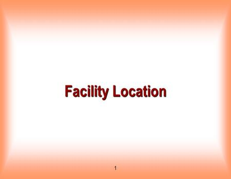 Facility Location.