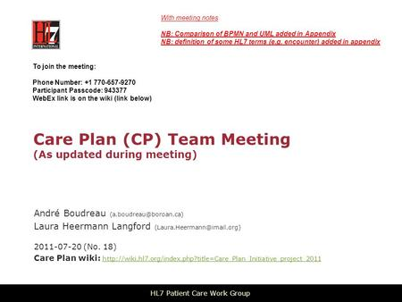 Care Plan (CP) Team Meeting (As updated during meeting) André Boudreau Laura Heermann Langford 2011-07-20.