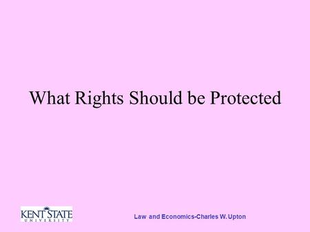 Law and Economics-Charles W. Upton What Rights Should be Protected.