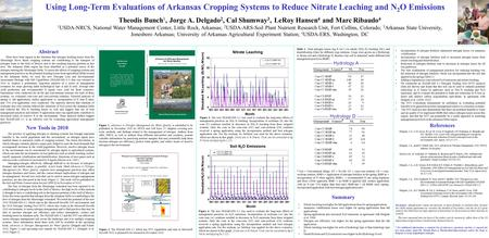 Using Long-Term Evaluations of Arkansas Cropping Systems to Reduce Nitrate Leaching and N 2 O Emissions Theodis Bunch 1, Jorge A. Delgado 2, Cal Shumway.
