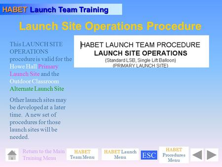 Launch Site Operations Procedure HABET Launch Team Training HABET Team Menu Return to the Main Training Menu HABET Launch Menu This LAUNCH SITE OPERATIONS.