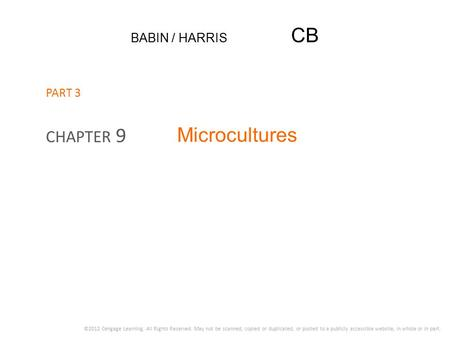 Microcultures CHAPTER 9 BABIN / HARRIS CB PART 3