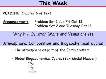 This Week The atmosphere as part of the Earth System Global Biogeochemical Cycles (Box-Model Heaven) N 2 O 2 CO 2 READING: Chapter 6 of text Announcements.