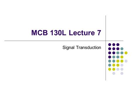 MCB 130L Lecture 7 Signal Transduction. This week's lab T-cell line containing NFAT Z Activators and/or inhibitors CPRG Assay for  -galactosidase cleavage.