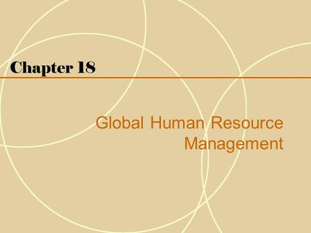 Chapter 18 Global Human Resource Management. 18-2 Introduction  Human resource management (HRM) refers to the activities an organization carries out.