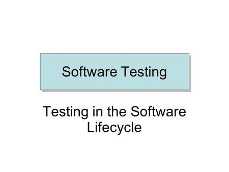 Software Testing Testing in the Software Lifecycle.