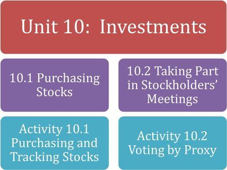 Unit 10: Investments 10.1 Purchasing Stocks Activity 10.1 Purchasing and Tracking Stocks 10.2 Taking Part in Stockholders' Meetings Activity 10.2 Voting.