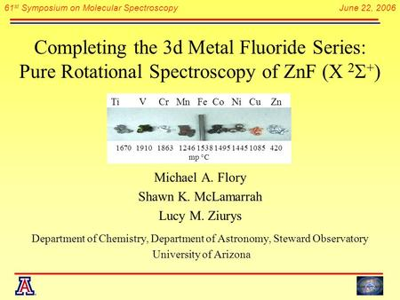 61 st Symposium on Molecular Spectroscopy June 22, 2006 Completing the 3d Metal Fluoride Series: Pure Rotational Spectroscopy of ZnF (X 2  + ) Michael.