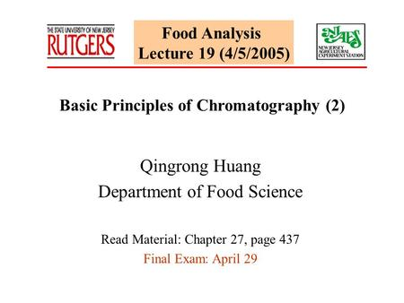 Basic Principles of Chromatography (2)