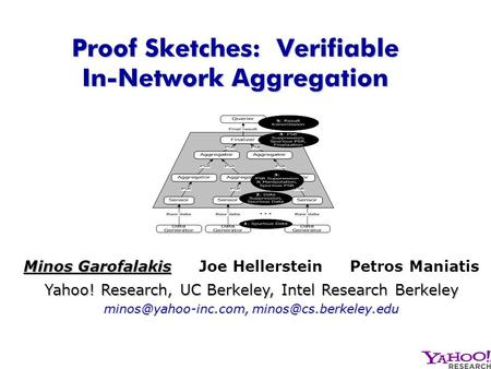 Proof Sketches: Verifiable In-Network Aggregation Minos Garofalakis Yahoo! Research, UC Berkeley, Intel Research Berkeley