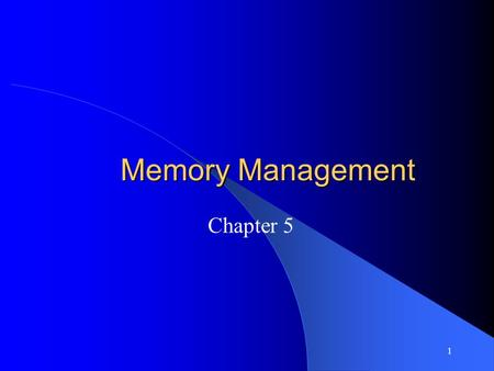 1 Memory Management Chapter 5. 2 Background Program must be brought into memory and placed within a process for it to be run Input queue – collection.