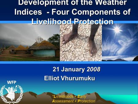 21 January 2008 Elliot Vhurumuku Development of the Weather Indices - Four Components of Livelihood Protection *Livelihoods + Early Assessment + Protection.