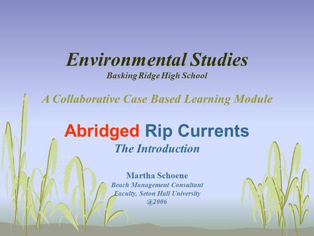 Environmental Studies Basking Ridge High School A Collaborative Case Based Learning Module Abridged Rip Currents The Introduction Martha Schoene Beach.