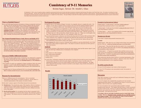 Consistency of 9-11 Memories Kristen Sager, Advisor: Dr. Arnold L. Glass What is a Flashbulb Memory? Brown and Kulik argued personal circumstances during.