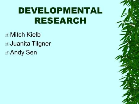 DEVELOPMENTAL RESEARCH  Mitch Kielb  Juanita Tilgner  Andy Sen.