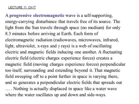 A progressive electromagnetic wave is a self-supporting, energy-carrying disturbance that travels free of its source. The light from the Sun travels through.