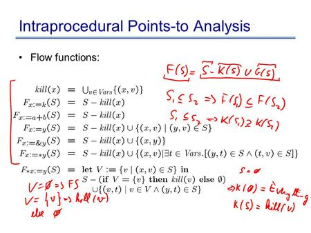 Intraprocedural Points-to Analysis Flow functions: